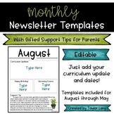 Editable Monthly Newsletter Templates with Gifted Support Tips