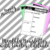 Editable Monthly Newsletter with Quotes