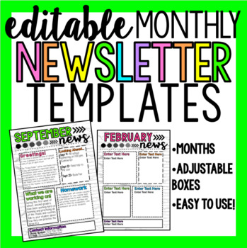 Editable Newsletters (MONTHLY) (Bright Colors)