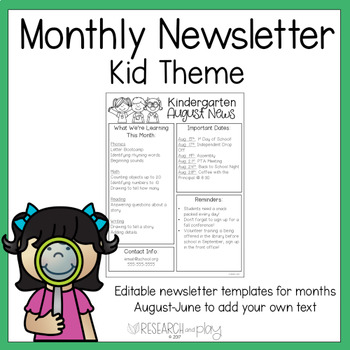 Editable Monthly Newsletters: Class Kids Theme