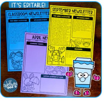 Editable Monthly Newsletters - Easy Peasy - PreK, Kindergarten, Preschool
