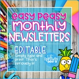 Editable Monthly Newsletters - Easy Peasy - PreK, Kindergarten, Preschool