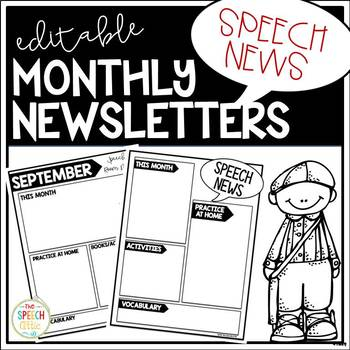 {Editable} Monthly Newsletters For Speech & Language Therapy