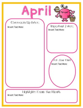 Editable Monthly Newsletters Monster Theme