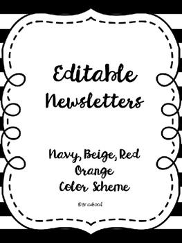Editable Monthly Newsletters [Navy, Red Orange, Beige]