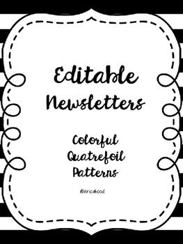 Editable Monthly Newsletters [Quatrefoil Colors]