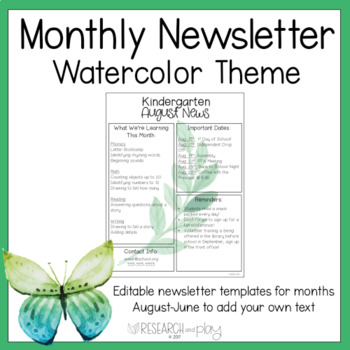 Editable Monthly Newsletters: Watercolor Foliage Theme