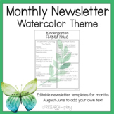 Editable Monthly Newsletters: Watercolor Decor Theme
