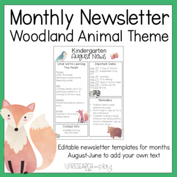 Editable Monthly Newsletters: Woodland Theme