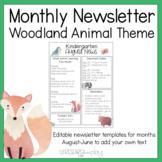 Editable Monthly Newsletters: Woodland Decor Theme