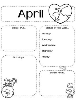 Editable Monthly Newsletters Year Round 12 Months School Black and White