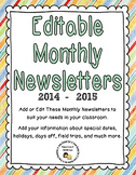 Editable Monthly Newsletters for 2014 - 2015 (Microsoft Pu