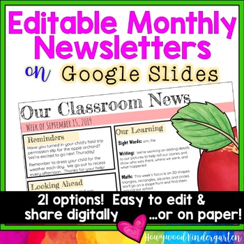 Editable Monthly Newsletters for Google Slides . Share digitally or on paper!