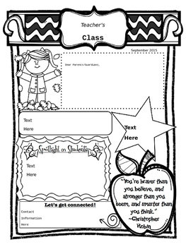 Editable Monthly Newsletters for a Full School Year