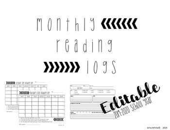 Editable Monthly Reading Calendar Logs 2016-2017