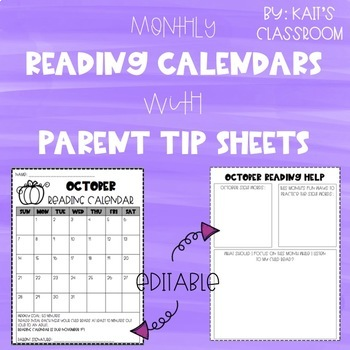 Editable Monthly Reading Calendars and Parent Tips