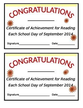 Editable Monthly Reading Certificate (September)
