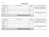 Editable Monthly Reading Log