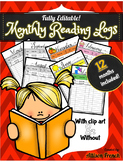 Editable Monthly Reading Log for the full year