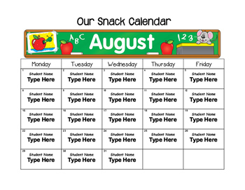 Editable Monthly Snack Calendars 2017-2018
