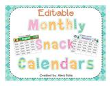 Editable Monthly Snack Calendars 2018-2019