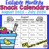 Editable Monthly Snack Calendars