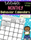 Editable Monthly Student Behavior Calendars - 2018-2019