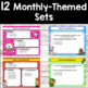 Editable Monthly Themed Morning Work PowerPoint Templates BUNDLE