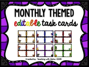 Editable Monthly Themed Task Cards