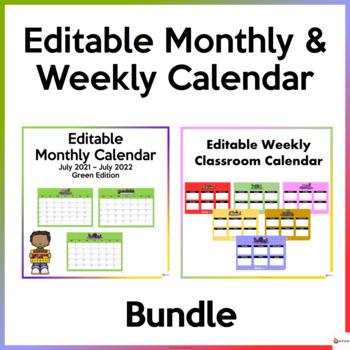 Editable Monthly and Weekly Calendar Bundle