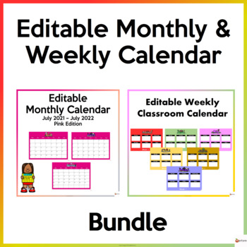 Editable Monthly and Weekly Calendar Bundle