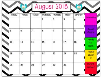 Editable Monthly behavior chart-owls