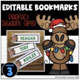 Editable Moosehead Christmas Bookmarks - Student gift