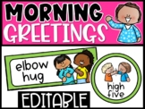 Editable Morning Greetings Choices - Greeting Signs Bright Colors