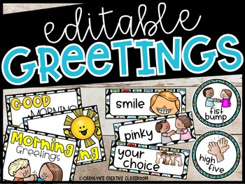 Editable Morning Greetings Choices - Greeting Signs Driving or Cars Theme