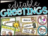 Editable Morning Greetings Choices - Greeting Signs Hawaiian Theme