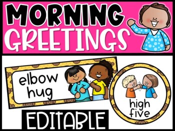 Editable Morning Greetings Choices - Greeting Signs Monkey