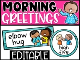 Editable Morning Greetings Choices - Greeting Signs Teal Wood