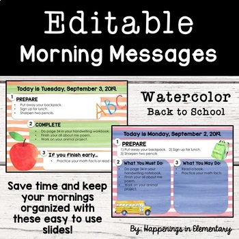 Editable Morning Message Slides *Back to School