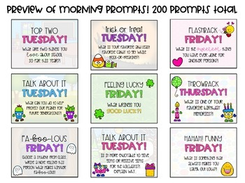 Morning Message Templates and WritingPrompts