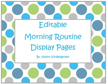 Editable Morning Routine Display Pages