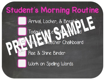 Editable Morning Routine Template
