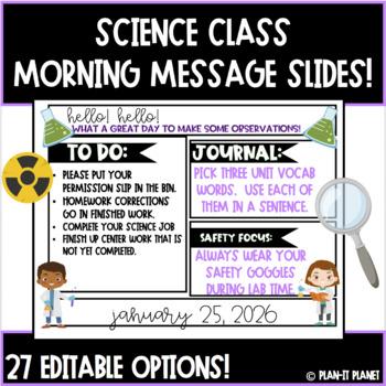 Editable Morning Slides! Science Themed! (27 Slide Options!!)