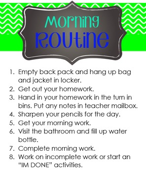 Editable Morning and Evening Routine Posters