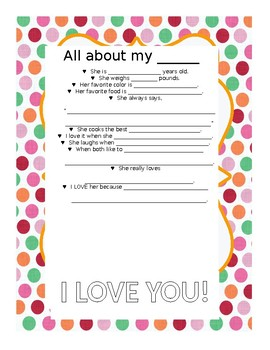 Editable Mother's Day Questionnaire