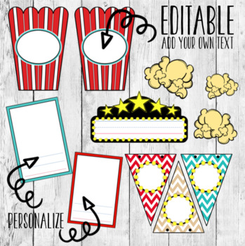 Editable Movie Cinema Themed Chevron Classroom Decor Bundle/ Black Red Turquoise