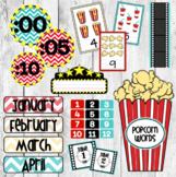 Editable Movie Cinema Themed Chevron Classroom Decor Bundl