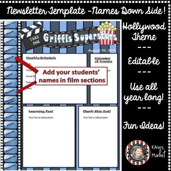 """Hollywood/Movie """"Cute Editable Newsletter with Students' Names Down Left Side"""""""