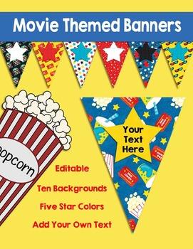 Editable Movie Themed Banners Pennants
