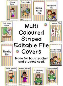 Editable Multi Coloured Striped File Covers